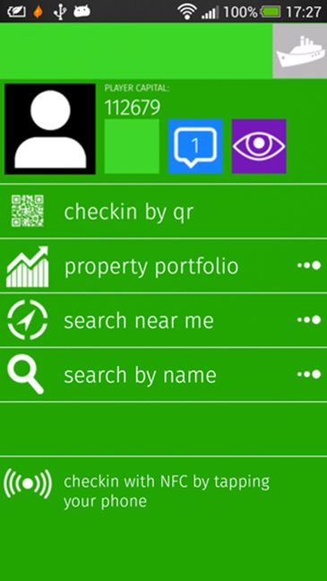 Screenshot of the LPT mobile interface: main menu.