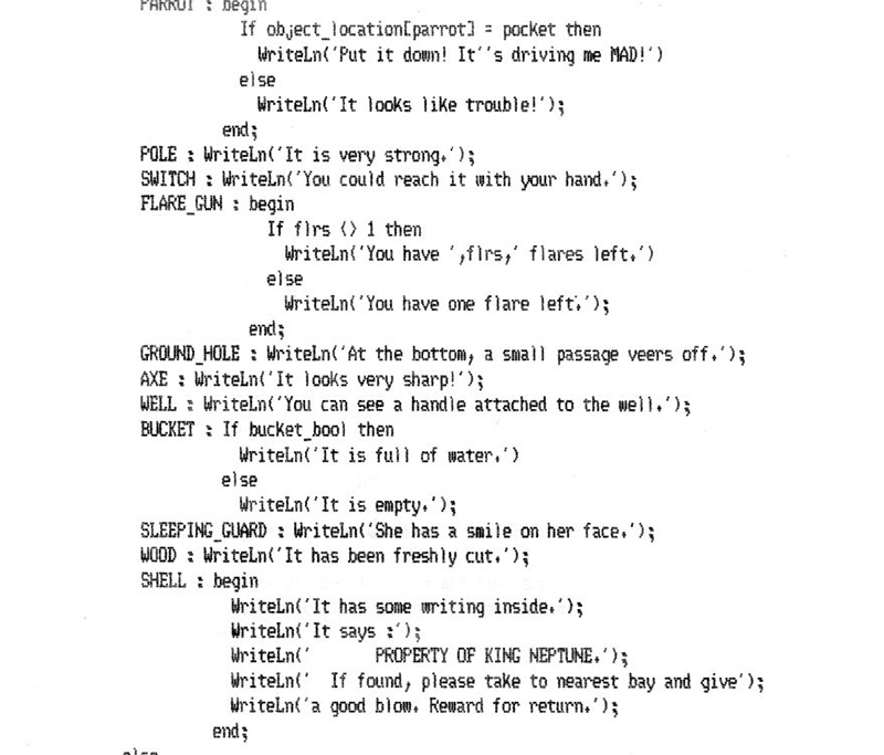 Figure 5: Matthew Hall, Jewels on Sancara, Turbo Pascal listing, detail from Commands 5